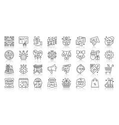 super sale simple black line icons tag set vector image