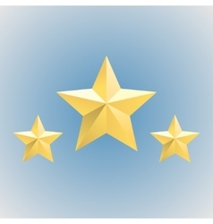 Three gold relief star icons Stock vector image