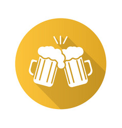 Toasting beer glasses flat design long shadow icon vector