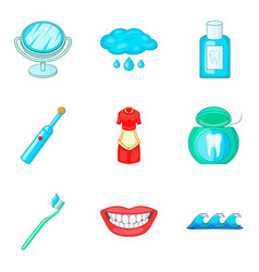 Toilet bowl icons set cartoon style vector