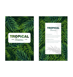 tropic leaves card realistic detailed 3d vector image