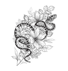 Twisted snake among flowers vector