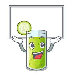 up board character fresh juice of green cucumber vector image
