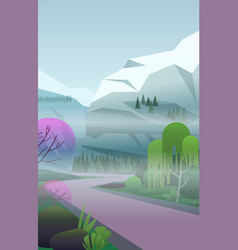 Vertical landscape with fog remote road vector