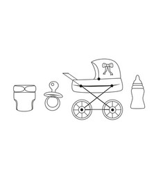 vintage baby carriage baby set vector image