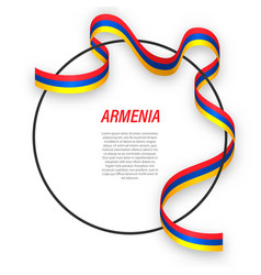 Waving ribbon flag armenia on circle frame vector