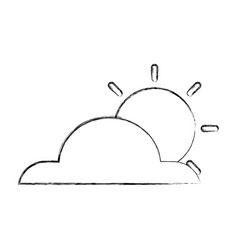 Weather cloud with sun isolated icon vector