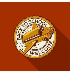 Welcome back to school label with schoolbus vector