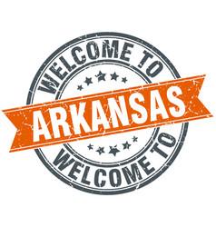 Welcome to arkansas orange round ribbon stamp vector