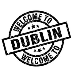 Welcome to dublin black stamp vector