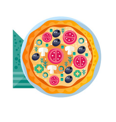 whole hot delicious vegetarian pizza with tomatoes vector image