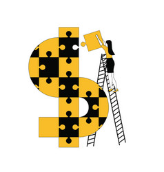 woman assembling dollar symbol with puzzles vector image