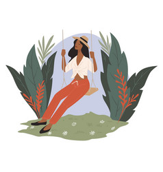woman on swings surrounded tropical flowers vector image