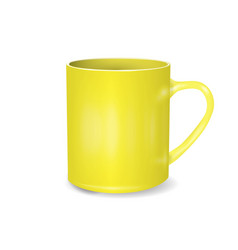 yellow cup isolated on white background blank cup vector image