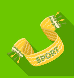 Yellow soccer fan scarf fans single icon in flat vector