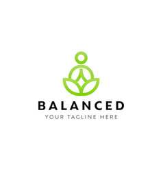 yoga logo design inspiration green vector image