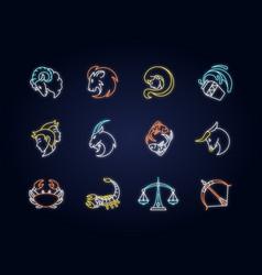Zodiac signs neon light icons set vector