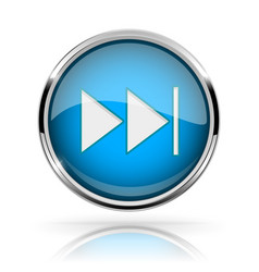 Blue round media button fast forward button vector
