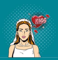 fashion bride pop art cartoon vector image