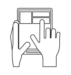 Hand touch tablet web page line vector