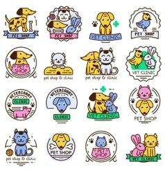 Pet shop badge set vector image vector image