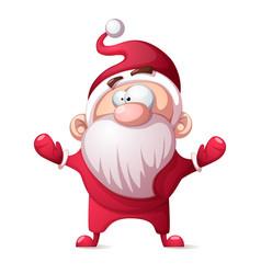 santa claus father winter - cartoon funny cute vector image