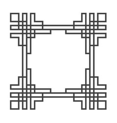 square asian retro frame in black and white vector image vector image