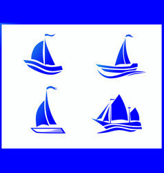 stock icons boat at sea vector image
