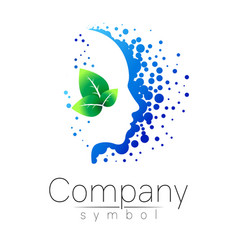 symbol of human head and leaf profile face vector image