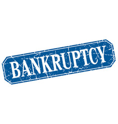 Bankruptcy blue square vintage grunge isolated vector