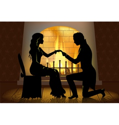 Couple near fireplace vector image vector image