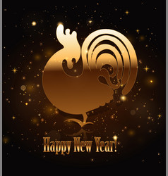gold rooster symbol of 2017 vector image