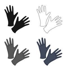 Black protective rubber gloves icon cartoon vector