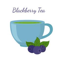 blackberry tea in cup with berries vector image vector image
