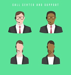 Set of icons Male and female call center avatars vector image vector image