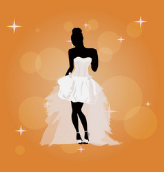 beautiful young girl in a wedding dress vector image vector image