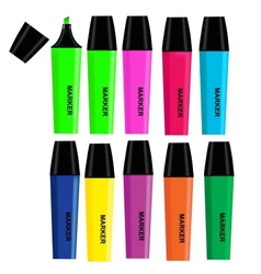 Highlighters isolated on white background vector image vector image