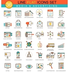 media advertising flat line icon set vector image vector image