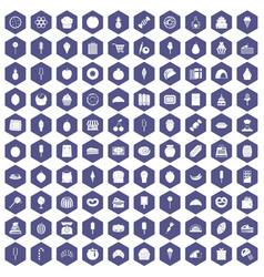 100 confectionery icons hexagon purple vector