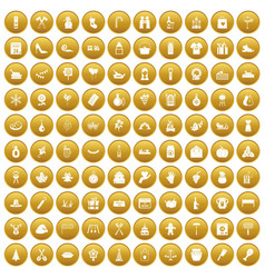 100 family tradition icons set gold vector image