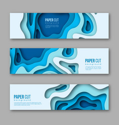 3d paper cut horizontal banners shapes vector image