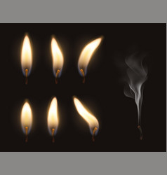 3d realistic candle fire flame set vector image
