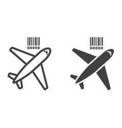 Air freight line and glyph icon logistic vector
