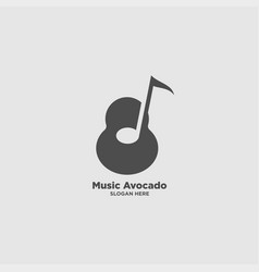 Avocado music logo design template vector
