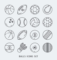 Balls icons set black and white vector image