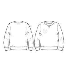 Basic blank sweatshirt front and back view vector