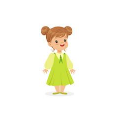 Beautiful little girl posing in green dress young vector