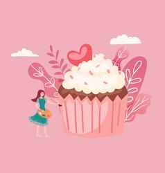 big cake and tiny girl decorating giant cupcake vector image
