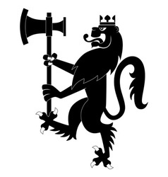 Black heraldic lion with battle-ax vector