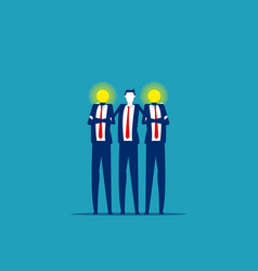 bulb head business people teamwork and friendship vector image